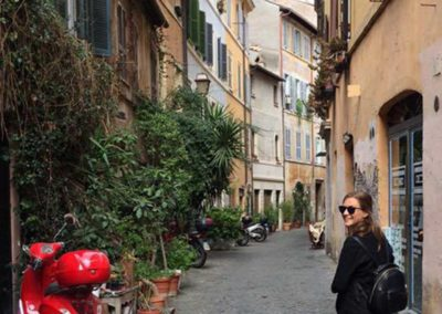 Jamie in Rome walking through the streets