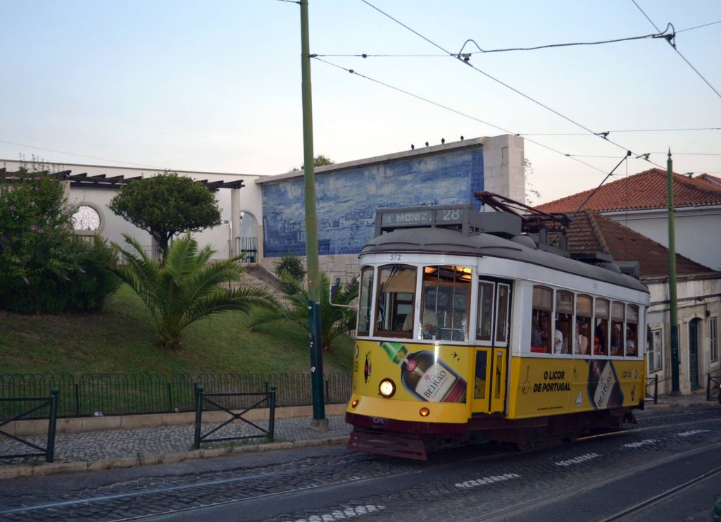 Tram in Lisbon, opt for this instead of a car for sustainable travel