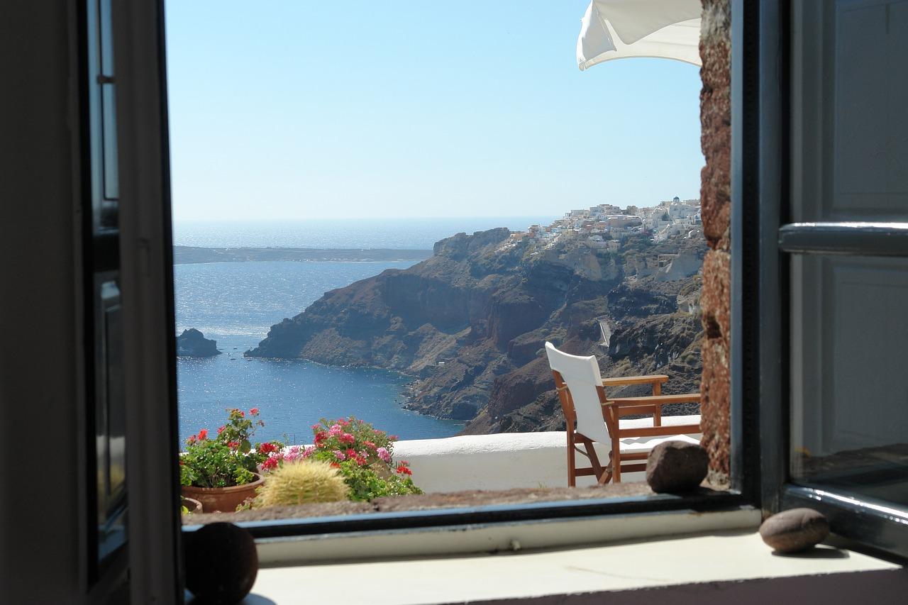 Santorini Greece view from window