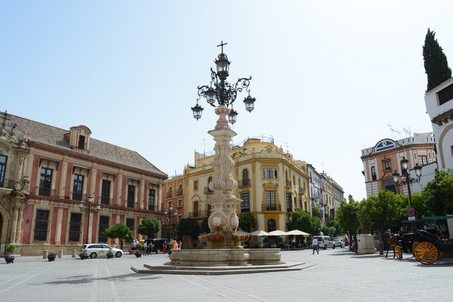 Square in Sevilla on the via de la plata in Spain