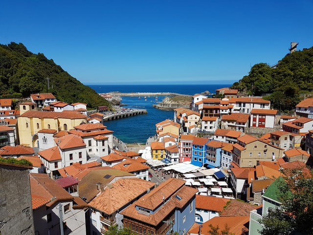Photo of a small coastal town in Asturias on the Camino Primitivo