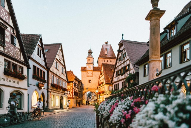 A German street with lovely buildings and flowers