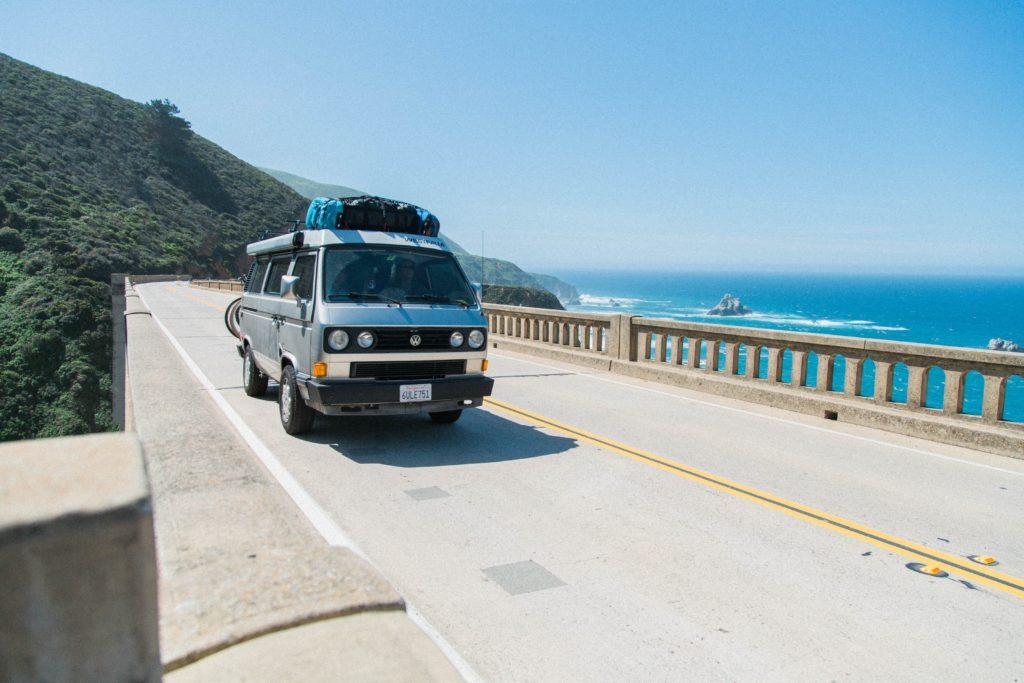 California Road Trip van crossing bridge in Big Sur