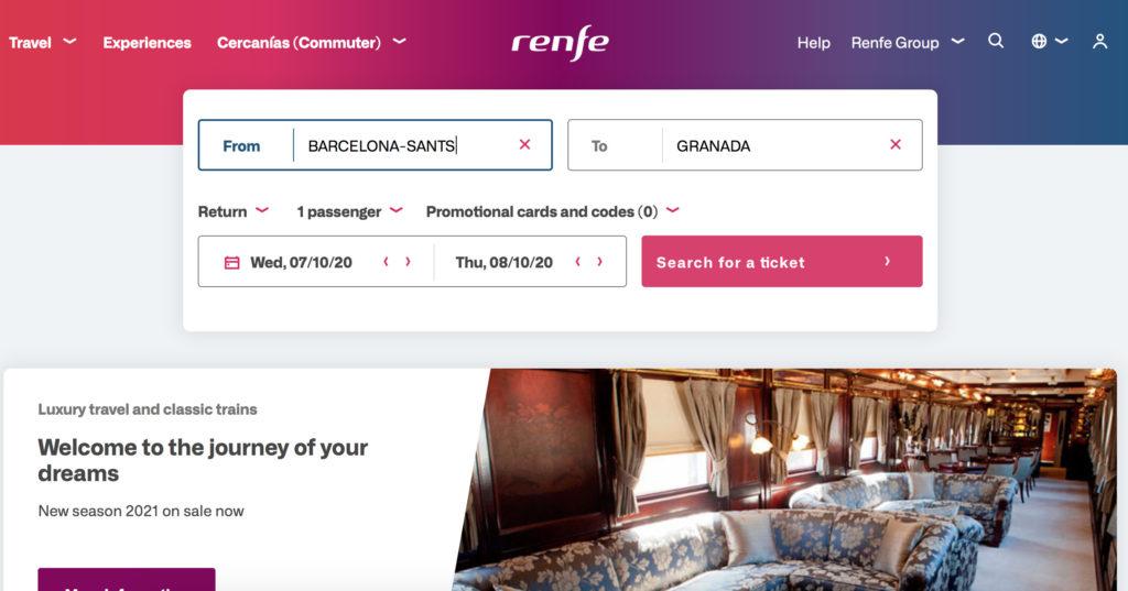 screenshot of renfe website