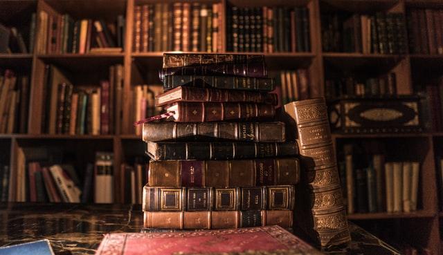 Stack of books: inner traveling