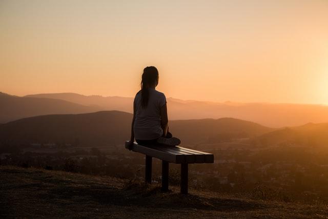 Sunset solo female traveler